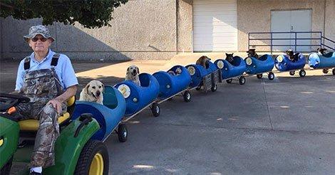 Il invente un train pour emmener les chiens qu'il a sauvé. La raison est Géniale!