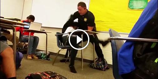 Choc, un policier violent avec une élève en plein cours
