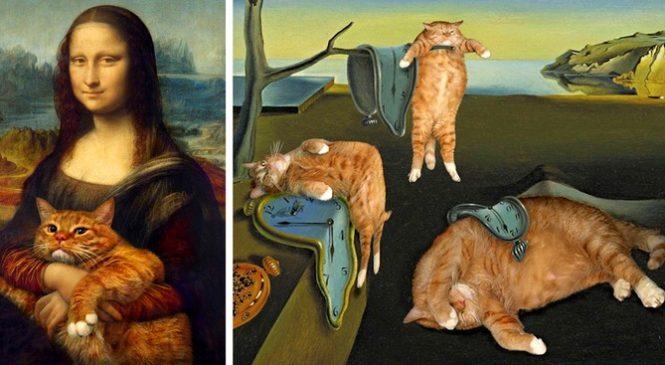 Cette artiste insère son chat roux dans de célèbres tableaux