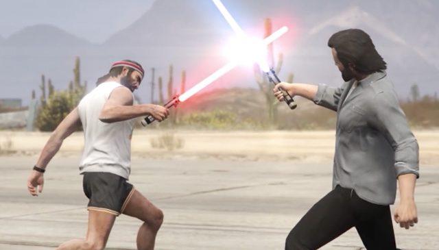 Un combat de sabres laser dans GTA V
