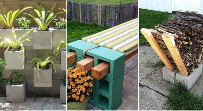 30 astuces pour décorer son jardin avec des blocs de béton
