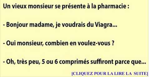 Un vieux monsieur se présente à la pharmacie pour du Viagra