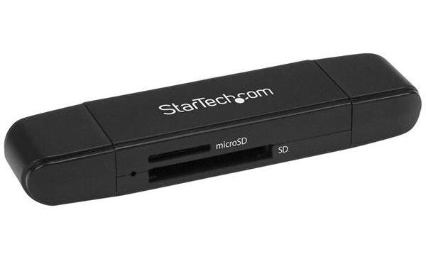 Un lecteur et enregistreur de cartes SD et microSD USB 3.0 avec ports USB-C et USB-A