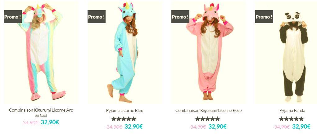 b72c1d5bb1989 ... des licornes, vous pouvez par exemple craquer pour un pyjama panda ou  chat. Il y a aussi une rubrique chausson et une autre qui propose des  combinaisons ...