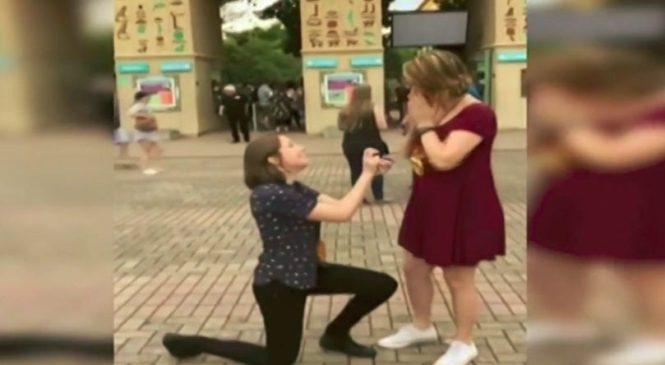 Une femme a une surprise lors d'une demande en mariage (Vidéo)
